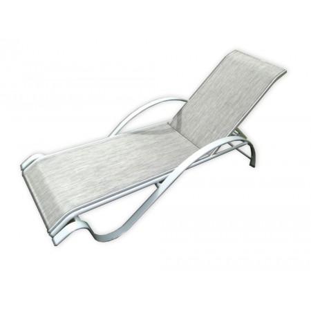 Elegantní zahradní lehátko s kovovým rámem, šedé