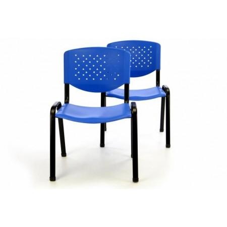 2 ks kovová židle s plastovým sedákem a opěradlem, modrá