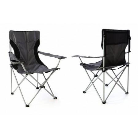2 ks textilní kempinková skládací židle, šedá