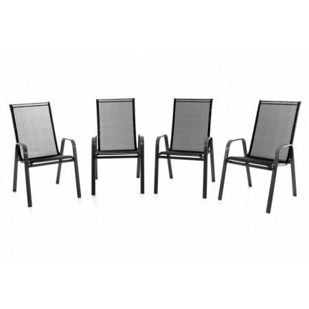 4 ks kovová zahradní židle s pevným rámem, textilní výplň, černá