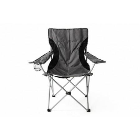 Kempovací textilní židle s kovovou kostrou, skládací, šedá