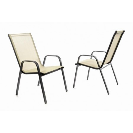 2 ks stohovatelná kovová židle s textilním polstrováním, krémová