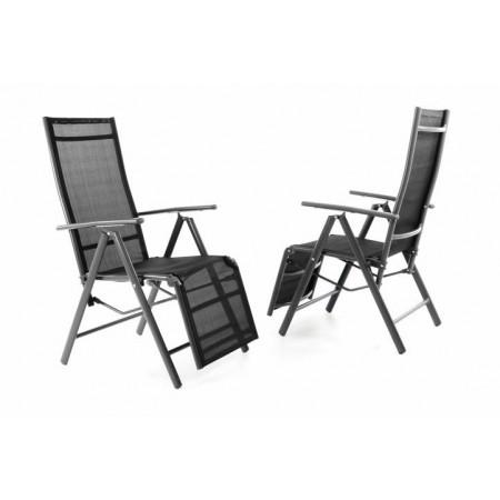 2 ks venkovní skládací židle / lehátko 2v1, prodyšný potah, antracit