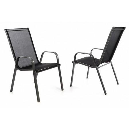 2 ks stohovatelná kovová židle s textilním polstrováním, černá