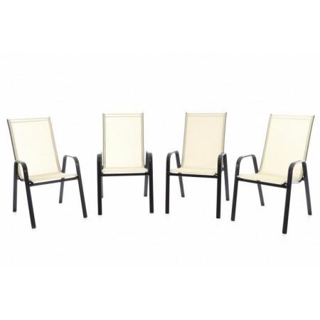 4 ks stohovatelná kovová židle s textilním polstrováním, krémová