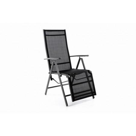 Venkovní skládací židle / lehátko 2v1, prodyšný potah, antracit