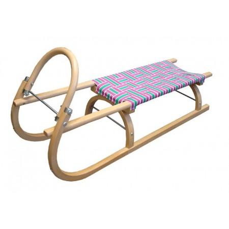 Dřevěné dětské sáně 110 cm, textilní sedlo