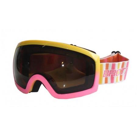 Dámské lyžařské brýle, úprava proti mlžení, UV filtr, žlutá / růžová