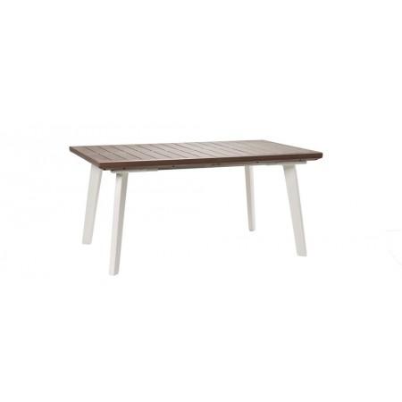 Venkovní rozkládací stůl, 162 - 241cm, bílá / cappuccino