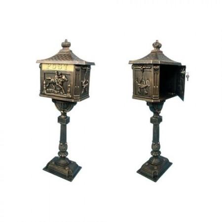 Okrasná poštovní schránka na stojanu, historický design