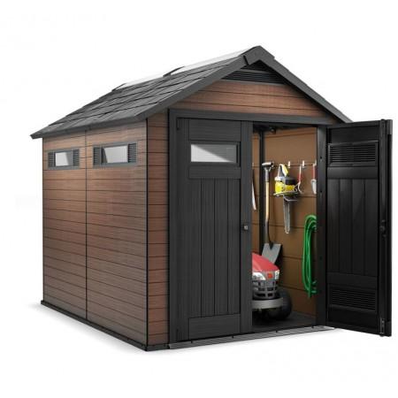 Větsí plastový zahradní domek, imitace dřeva, 252x229x287 cm