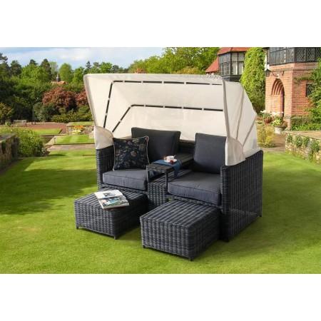 Luxusní zahradní nábytek- relaxační set se stříškou, antracit / béžová