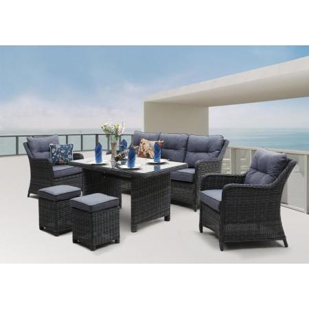 Velký luxusní set nábytku z umělého ratanu, antracit / šedá
