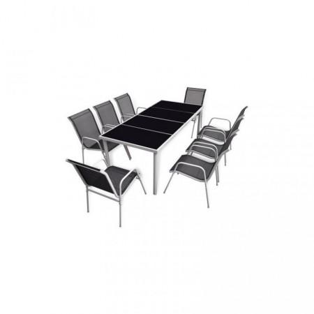 Velký set zahradního nábytku pro 8 osob, stůl se skleněnou deskou