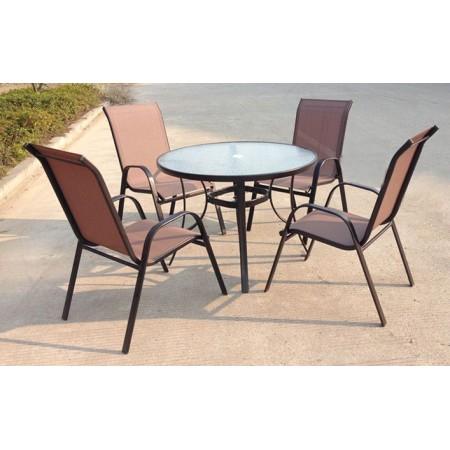 Set nábytku- venkovní kulatý stůl se židlemi, bronzový design