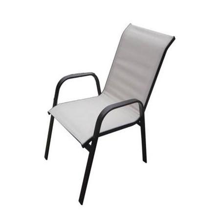 Pevná kovová zahradní židle s textilním výpletem, slonová kost