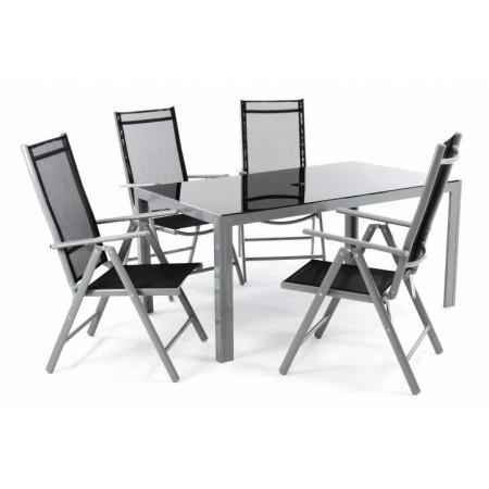 Elegantní set venkovního jídelního nábytku pro 6 osob, černá / šedá