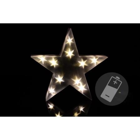 Vánoční svítící hvězda do bytu, na baterie, 10 LED diod, 30 cm