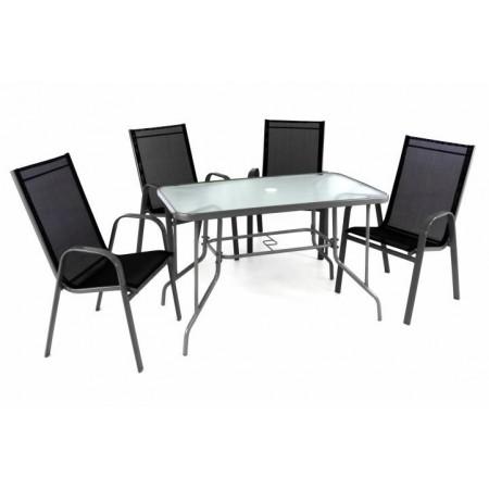 Set venkovního nábytku pro 4 osoby, šedá / černá