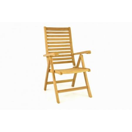 Zahradní židle s polohovatelným opěradlem, masivní teakové dřevo