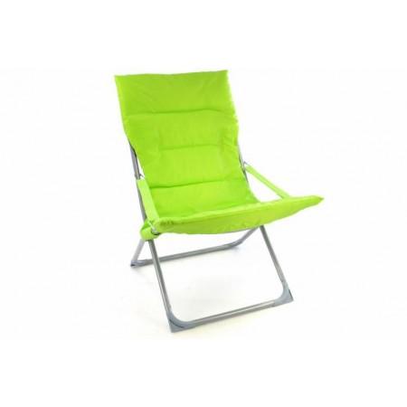 Měkká skládací kempinková židle, polstrovaná, zářivě zelená