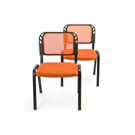 2 ks pevná kovová židle s polstrovaným sedákem, oranžová
