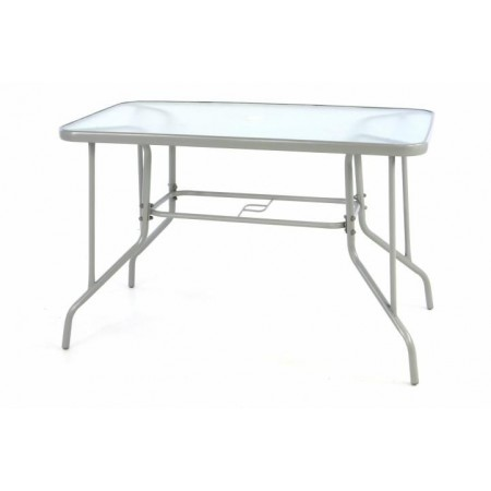 Kovový venkovní stůl se skleněnou deskou, šedý