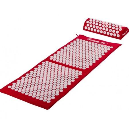 Akumpresurní podložka / lehátko vč. polštářku, 130 x 50 cm, červená