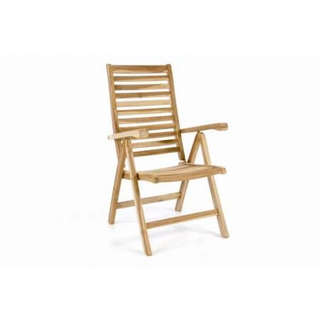 Polohovací masivní židle z týkového dřeva