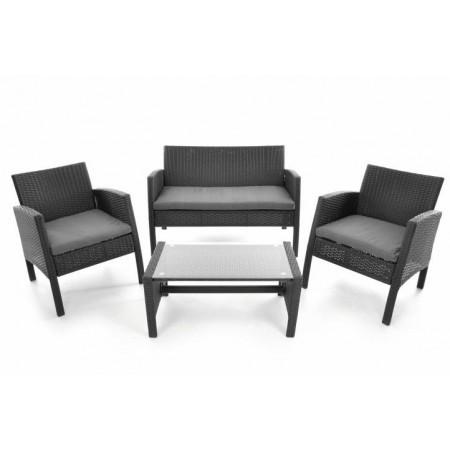 Set polyratanového nábytku s polstrováním, černá / šedá