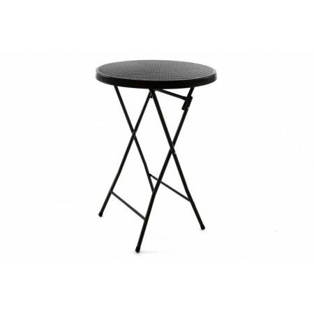 Venkovní skládací vysoký stolek, kulatý, ratanový vzhled
