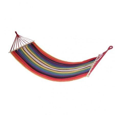 Textilní houpací síť, 80x200 cm, nosnost 120 kg, barevné pruhy