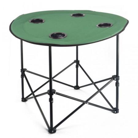 Skládací stolek kulatý, kov / textilie, průměr 70 cm
