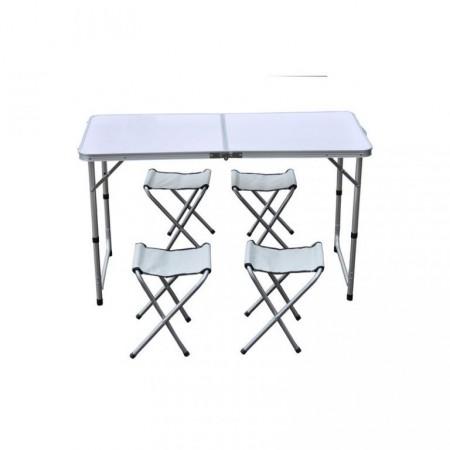 Rodinná kempovací souprava, stůl + 4 židličky, hliník / textilie