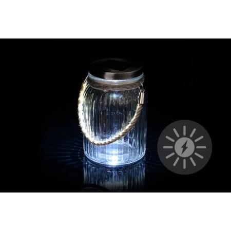 Venkovní solární lampička ve tvaru sklenice, k zavěšení