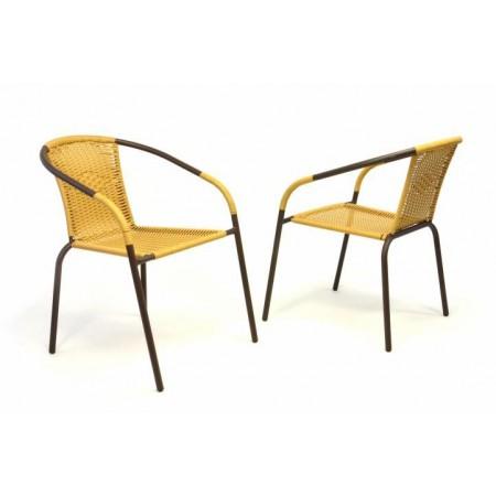 2 ks stohovatelná venkovní židle, kov / polyratanový výplet, béžová
