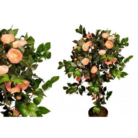 Umělá rostlina Kamélie jako živá, růžové květy, 140 cm