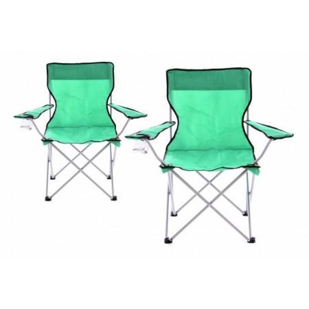 2 ks textilní skládací židle s kovovým rámem, zelená