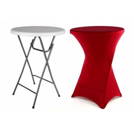 Designový kulatý stolek pro párty a oslavy, s potahem, červený