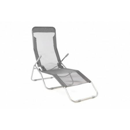 Anatomické relaxační lehátko kov / umělá textilie, šedé