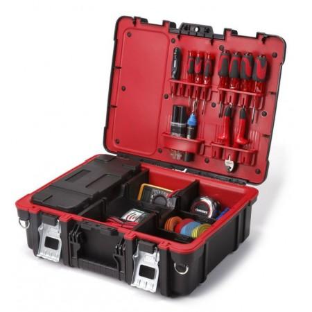 Kufr na nářadí a spojovací materiál, černá / červená
