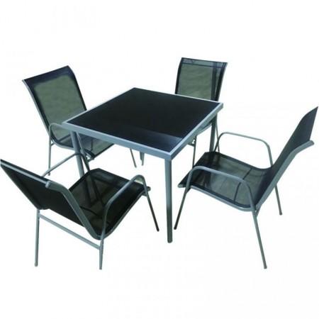Menší, levná sestava venkovního nábytku pro 4, čtvercový stůl