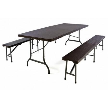 Skládací zahradní set stolu a lavic, ratan vzhled