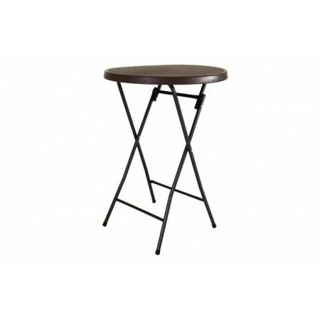 Vysoký venkovní servírovací stolek kulatý, 110 cm, hnědý
