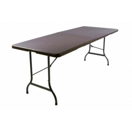 Venkovní skládací stůl k pivnímu setu, ratan optika, hnědý, 180 cm