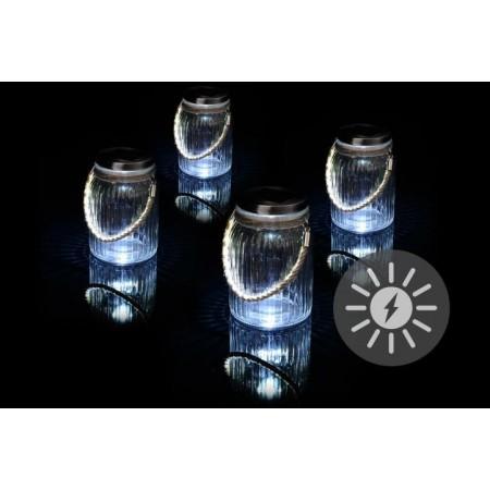 4 ks závěsná světýkla- vzhled sklenic, solární napájení