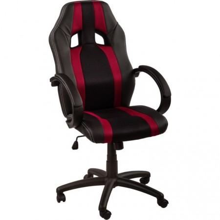 Nastavitelná kancelářská židle otočná, sport. vzhled, černá / vínová
