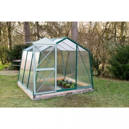 Zahradní skleník z polykarbonátu, posuvné dveře, 235x150x179 cm