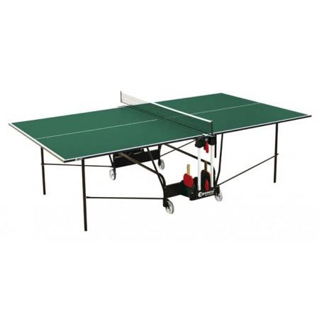 Stůl na stolní tenis vnitřní, pojezdová kolečka, zelený