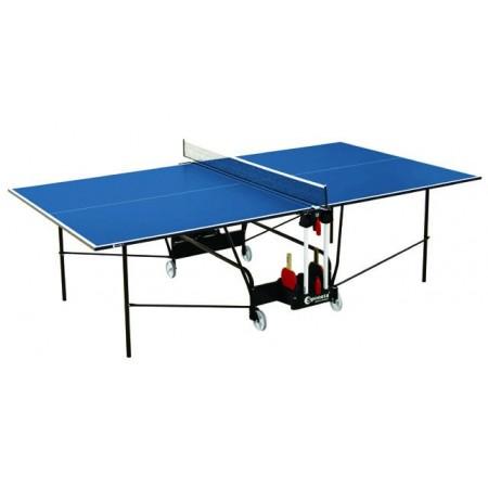 Stůl na stolní tenis vnitřní, pojezdová kolečka, modrý